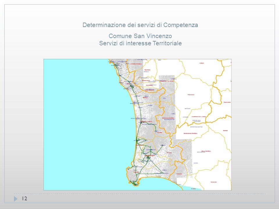 12 Comune San Vincenzo Servizi di interesse Territoriale Determinazione dei servizi di Competenza