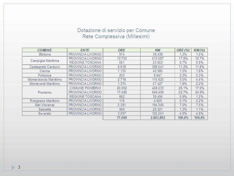3 Dotazione di servizio per Comune Rete Complessiva (Millesimi)