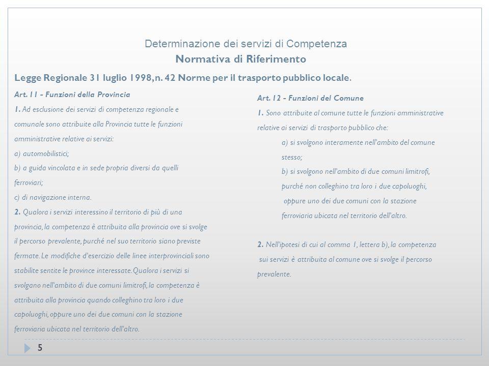 16 Comune Castagneto Servizi di interesse Comunale Determinazione dei servizi di Competenza
