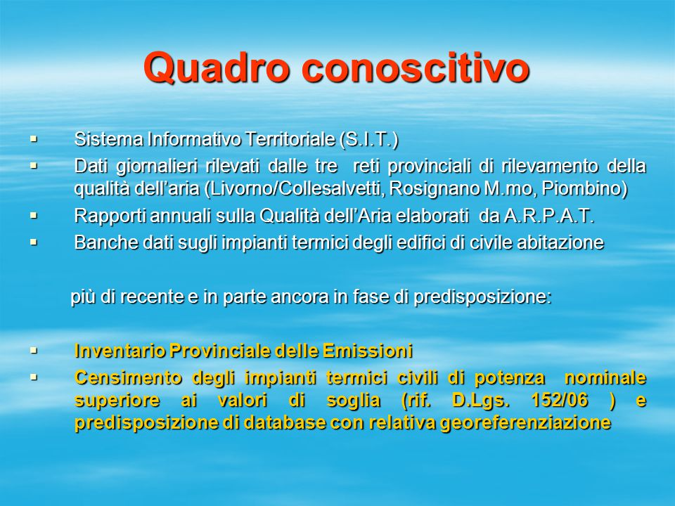  Sistema Informativo Territoriale (S.I.T.)  Dati giornalieri rilevati dalle tre reti provinciali di rilevamento della qualità dell'aria (Livorno/Col