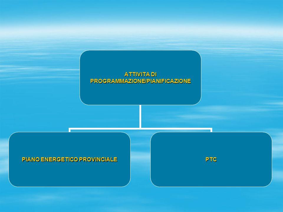 ATTIVITA DI PROGRAMMAZIONE/PIANIFICAZIONE PIANO ENERGETICO PROVINCIALE PTC