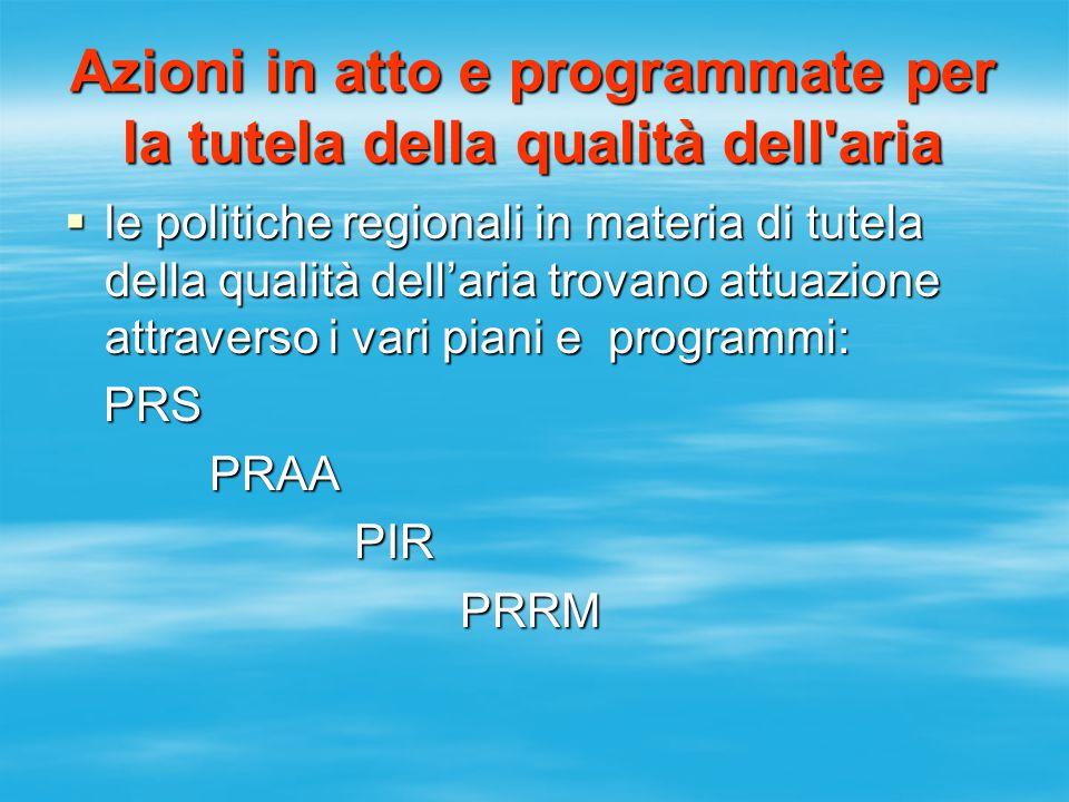 Azioni in atto e programmate per la tutela della qualità dell aria  le politiche regionali in materia di tutela della qualità dell'aria trovano attuazione attraverso i vari piani e programmi: PRS PRS PRAA PRAA PIR PIR PRRM PRRM