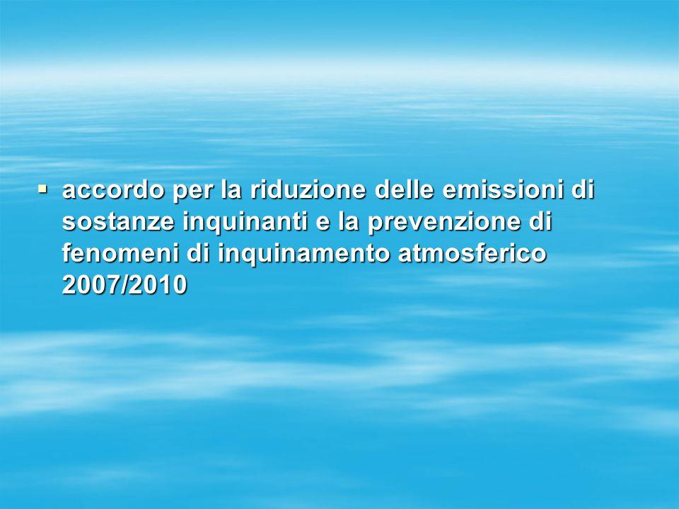  accordo per la riduzione delle emissioni di sostanze inquinanti e la prevenzione di fenomeni di inquinamento atmosferico 2007/2010