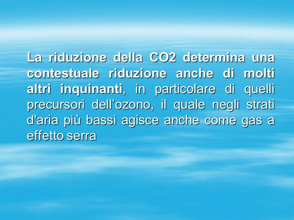 La riduzione della CO2 determina una contestuale riduzione anche di molti altri inquinanti, in particolare di quelli precursori dell'ozono, il quale negli strati d aria più bassi agisce anche come gas a effetto serra La riduzione della CO2 determina una contestuale riduzione anche di molti altri inquinanti, in particolare di quelli precursori dell'ozono, il quale negli strati d aria più bassi agisce anche come gas a effetto serra
