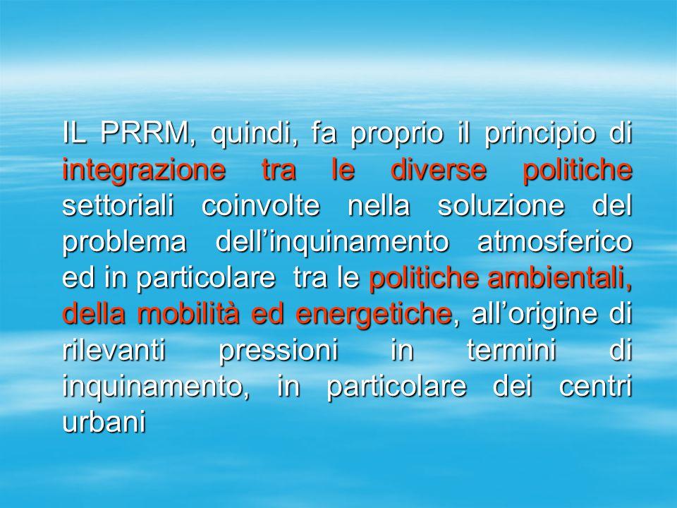 IL PRRM, quindi, fa proprio il principio di integrazione tra le diverse politiche settoriali coinvolte nella soluzione del problema dell'inquinamento atmosferico ed in particolare tra le politiche ambientali, della mobilità ed energetiche, all'origine di rilevanti pressioni in termini di inquinamento, in particolare dei centri urbani IL PRRM, quindi, fa proprio il principio di integrazione tra le diverse politiche settoriali coinvolte nella soluzione del problema dell'inquinamento atmosferico ed in particolare tra le politiche ambientali, della mobilità ed energetiche, all'origine di rilevanti pressioni in termini di inquinamento, in particolare dei centri urbani