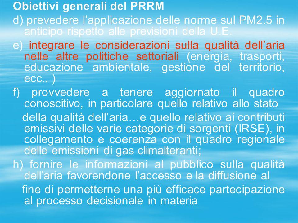 Obiettivi generali del PRRM d) prevedere l'applicazione delle norme sul PM2.5 in anticipo rispetto alle previsioni della U.E. e) integrare le consider