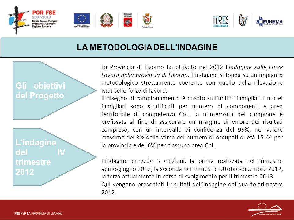 LA METODOLOGIA DELL'INDAGINE Gli obiettivi del Progetto L'indagine del IV trimestre 2012 La Provincia di Livorno ha attivato nel 2012 l'Indagine sulle Forze Lavoro nella provincia di Livorno.