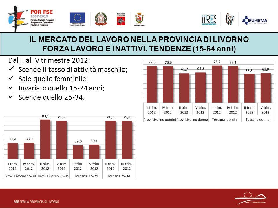 Dal II al IV trimestre 2012: Scende il tasso di attività maschile; Sale quello femminile; Invariato quello 15-24 anni; Scende quello 25-34. IL MERCATO