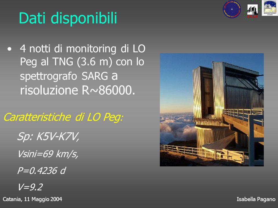 Catania, 11 Maggio 2004Isabella Pagano Dati disponibili 4 notti di monitoring di LO Peg al TNG (3.6 m) con lo spettrografo SARG a risoluzione R~86000.