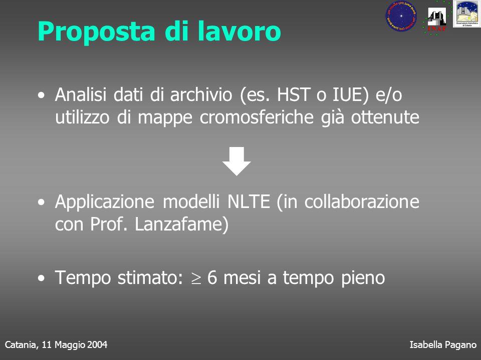 Catania, 11 Maggio 2004Isabella Pagano Proposta di lavoro Analisi dati di archivio (es.
