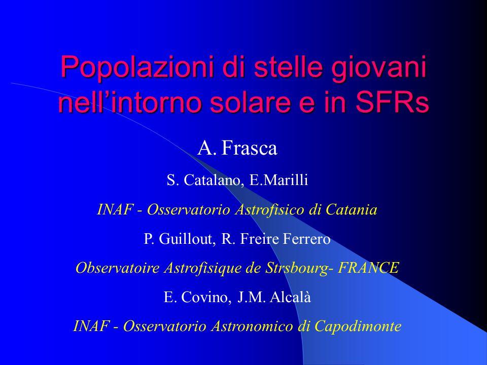 Popolazioni di stelle giovani nell'intorno solare e in SFRs A.Frasca S. Catalano, E.Marilli INAF - Osservatorio Astrofisico di Catania P. Guillout, R.