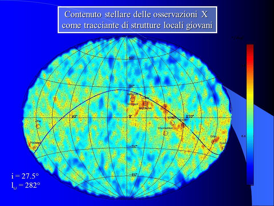 Contenuto stellare delle osservazioni X come tracciante di strutture locali giovani i = 27.5° l  = 282°