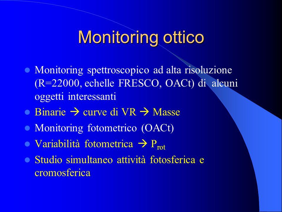 Monitoring ottico Monitoring spettroscopico ad alta risoluzione (R=22000, echelle FRESCO, OACt) di alcuni oggetti interessanti Binarie  curve di VR  Masse Monitoring fotometrico (OACt) Variabilità fotometrica  P rot Studio simultaneo attività fotosferica e cromosferica