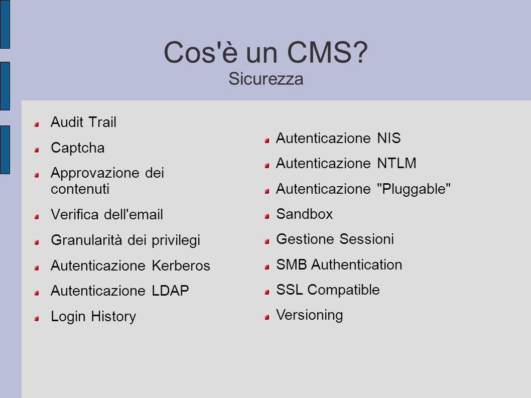 Cos'è un CMS? Sicurezza Audit Trail Captcha Approvazione dei contenuti Verifica dell'email Granularità dei privilegi Autenticazione Kerberos Autentica