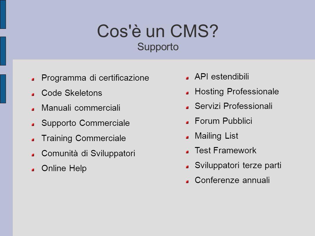 Cos'è un CMS? Supporto Programma di certificazione Code Skeletons Manuali commerciali Supporto Commerciale Training Commerciale Comunità di Sviluppato