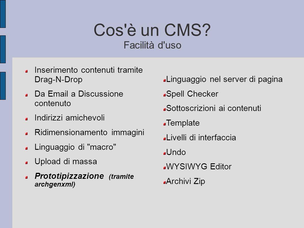 Cos'è un CMS? Facilità d'uso Inserimento contenuti tramite Drag-N-Drop Da Email a Discussione contenuto Indirizzi amichevoli Ridimensionamento immagin