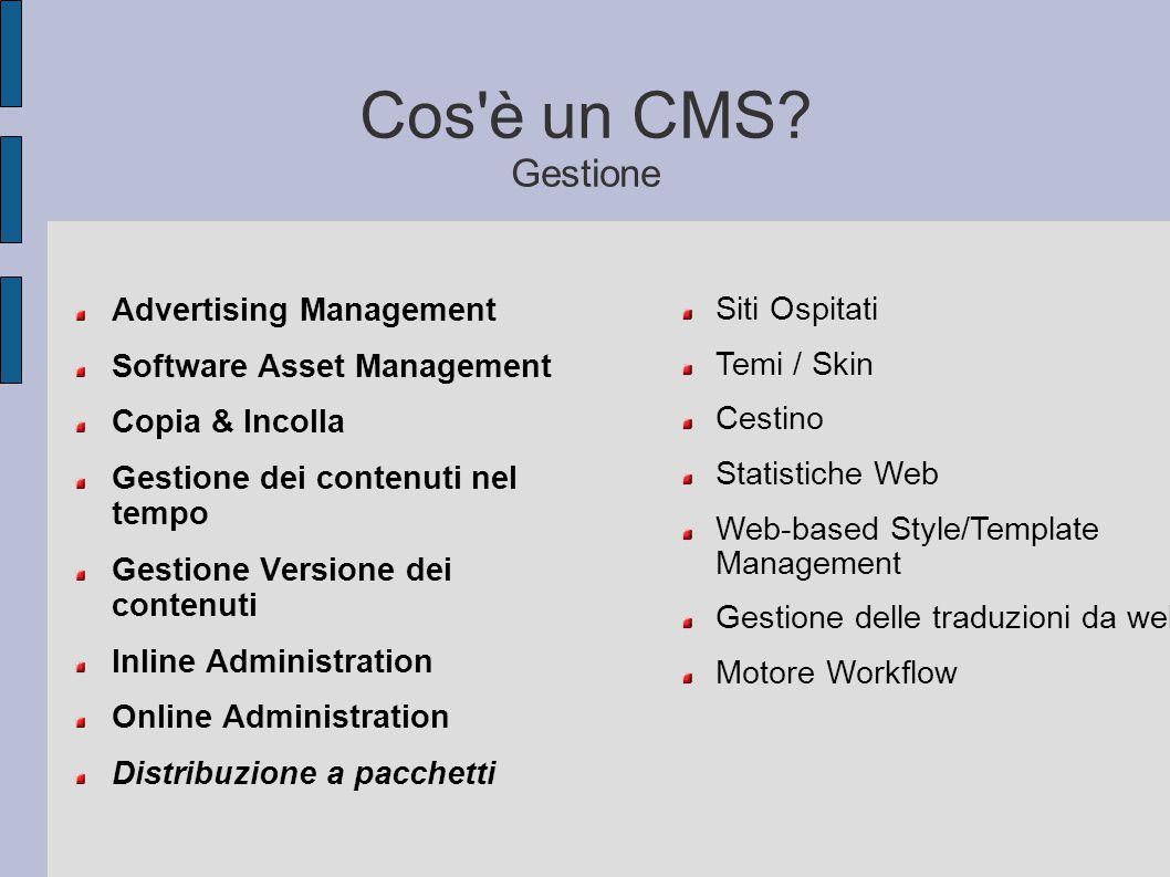 Cos'è un CMS? Gestione Advertising Management Software Asset Management Copia & Incolla Gestione dei contenuti nel tempo Gestione Versione dei contenu