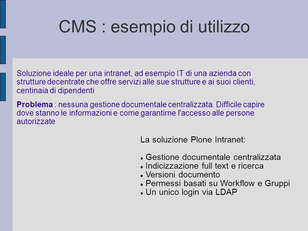 CMS : esempio di utilizzo Soluzione ideale per una intranet, ad esempio IT di una azienda con strutture decentrate che offre servizi alle sue struttur