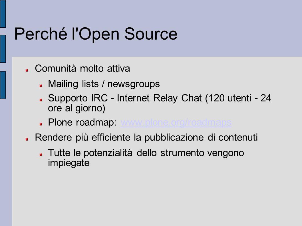Perché l'Open Source Comunità molto attiva Mailing lists / newsgroups Supporto IRC - Internet Relay Chat (120 utenti - 24 ore al giorno) Plone roadmap