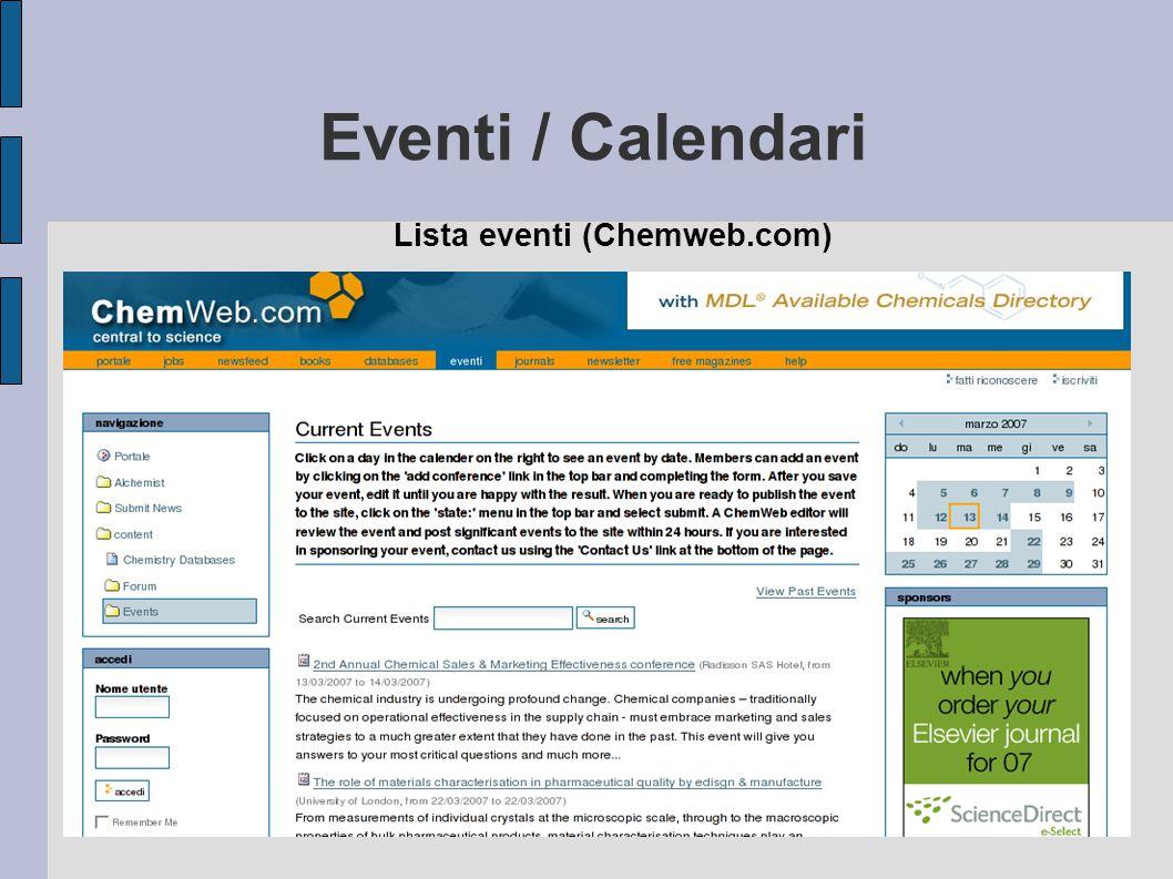 Eventi / Calendari Lista eventi (Chemweb.com)