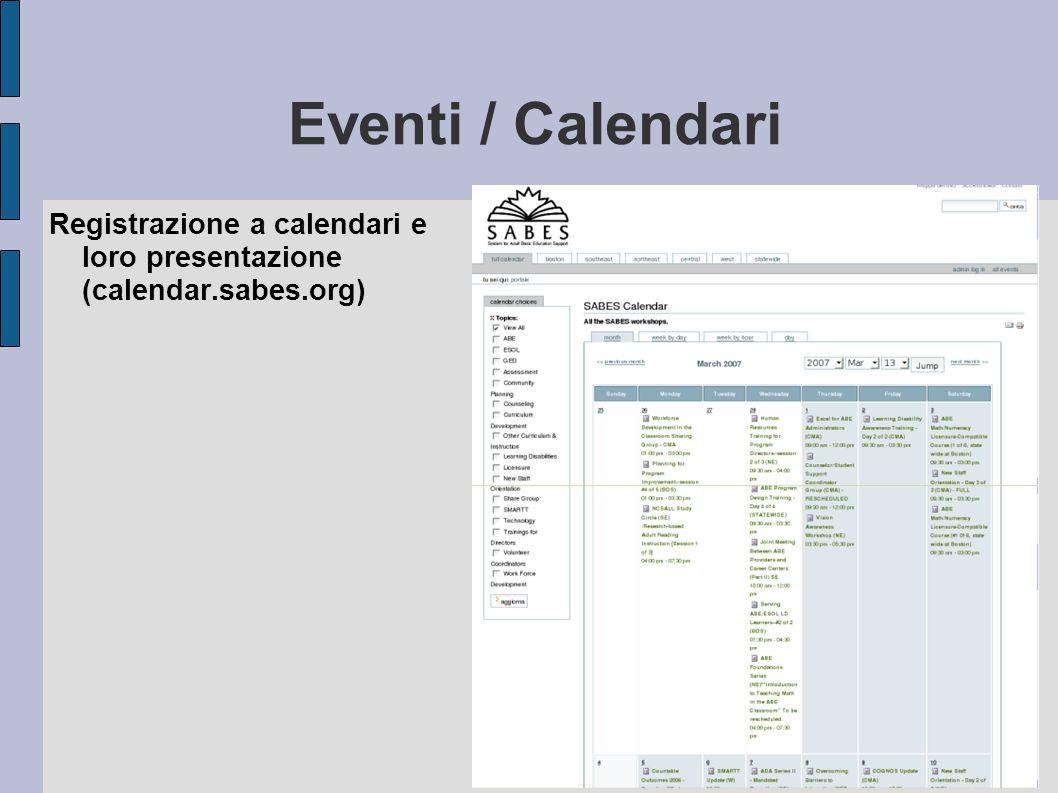 Eventi / Calendari Registrazione a calendari e loro presentazione (calendar.sabes.org)