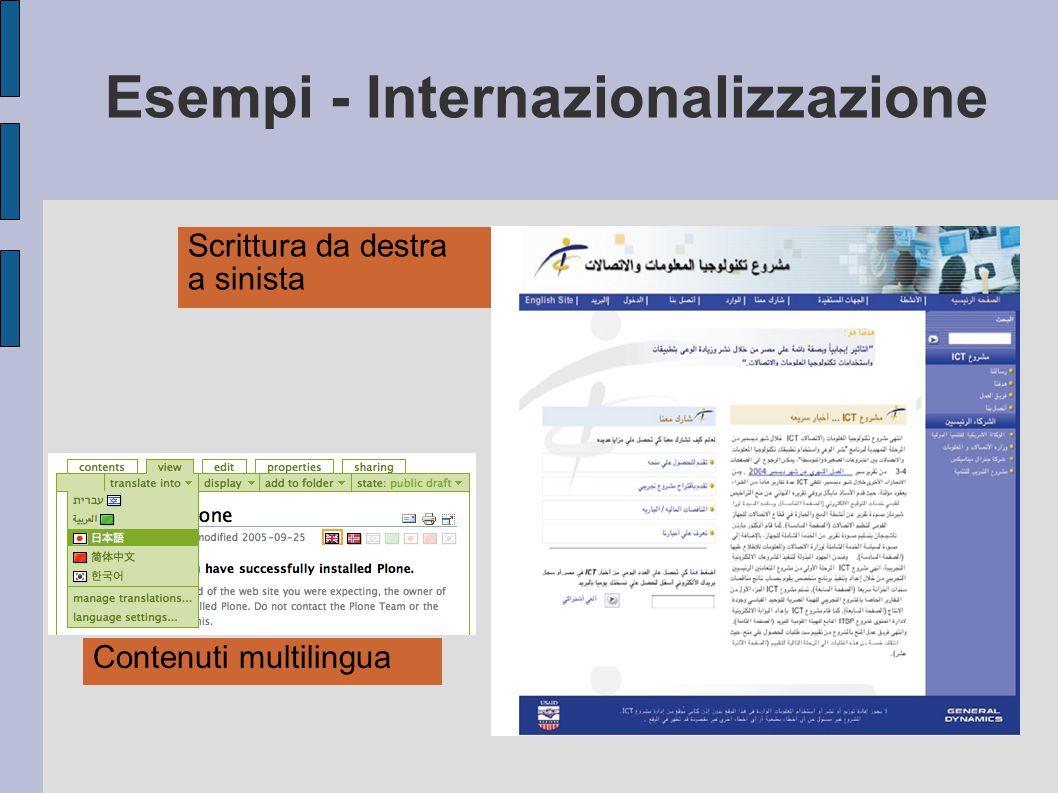 Esempi - Internazionalizzazione Scrittura da destra a sinista Contenuti multilingua