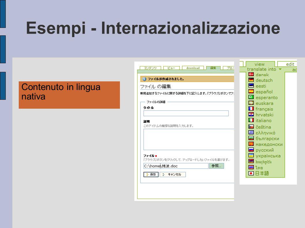 Esempi - Internazionalizzazione Contenuto in lingua nativa