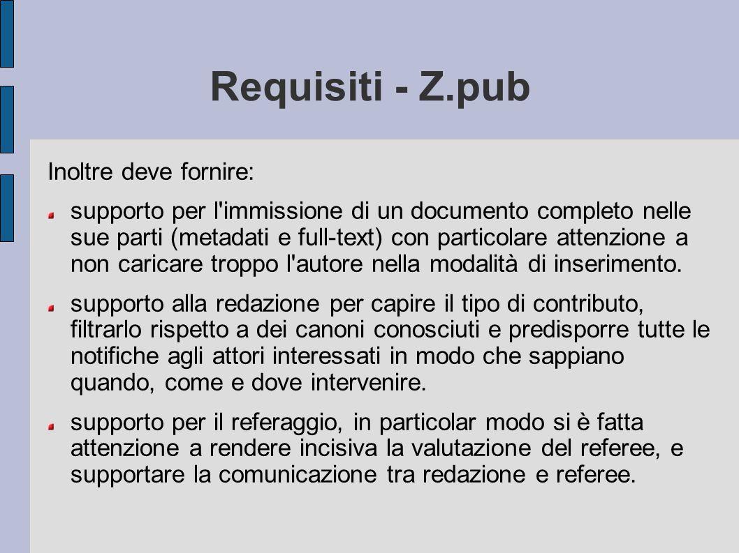 Requisiti - Z.pub Inoltre deve fornire: supporto per l'immissione di un documento completo nelle sue parti (metadati e full-text) con particolare atte