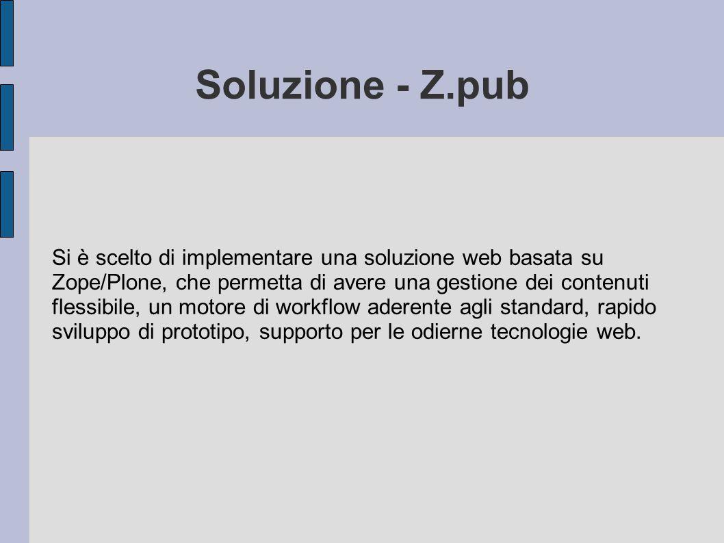 Soluzione - Z.pub Si è scelto di implementare una soluzione web basata su Zope/Plone, che permetta di avere una gestione dei contenuti flessibile, un