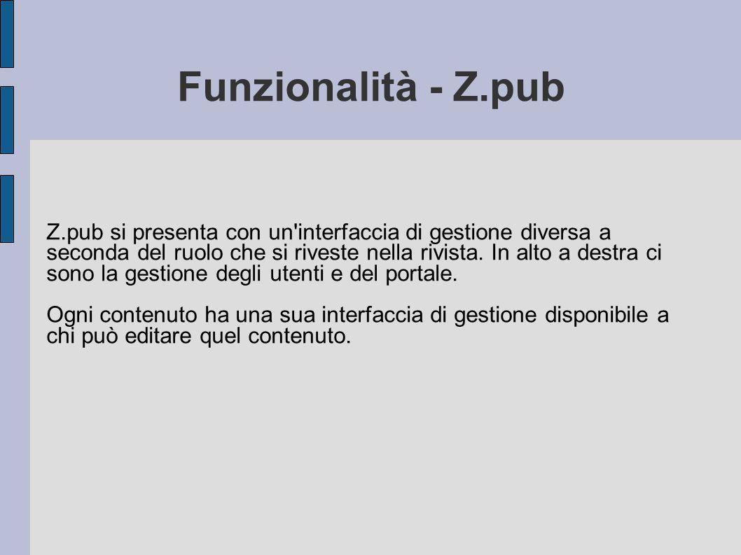 Funzionalità - Z.pub Z.pub si presenta con un'interfaccia di gestione diversa a seconda del ruolo che si riveste nella rivista. In alto a destra ci so