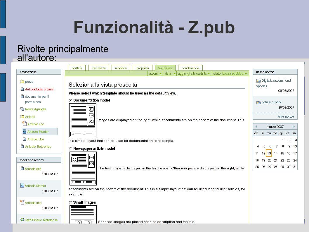 Funzionalità - Z.pub Rivolte principalmente all'autore: