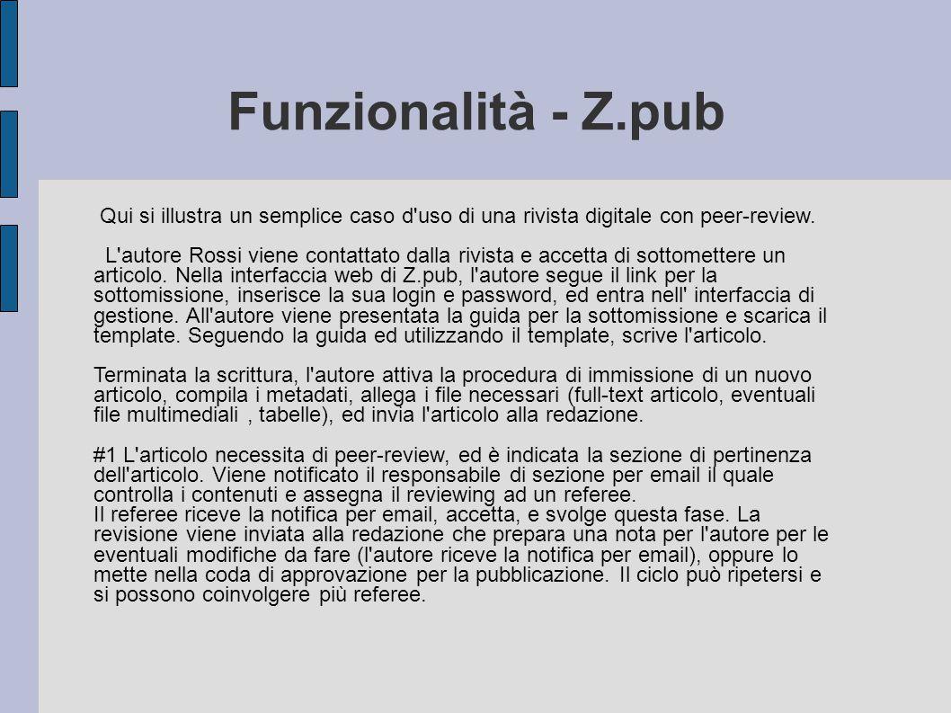 Funzionalità - Z.pub Qui si illustra un semplice caso d'uso di una rivista digitale con peer-review. L'autore Rossi viene contattato dalla rivista e a