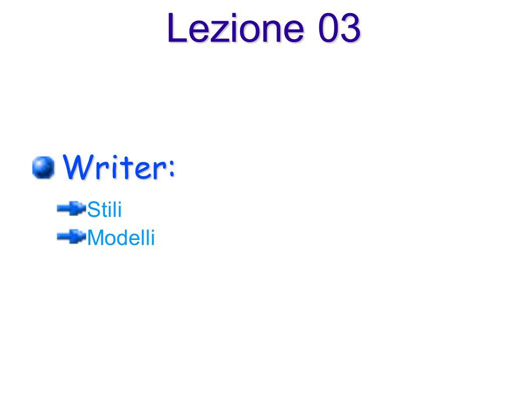 Writer: Stili Modelli Lezione 03