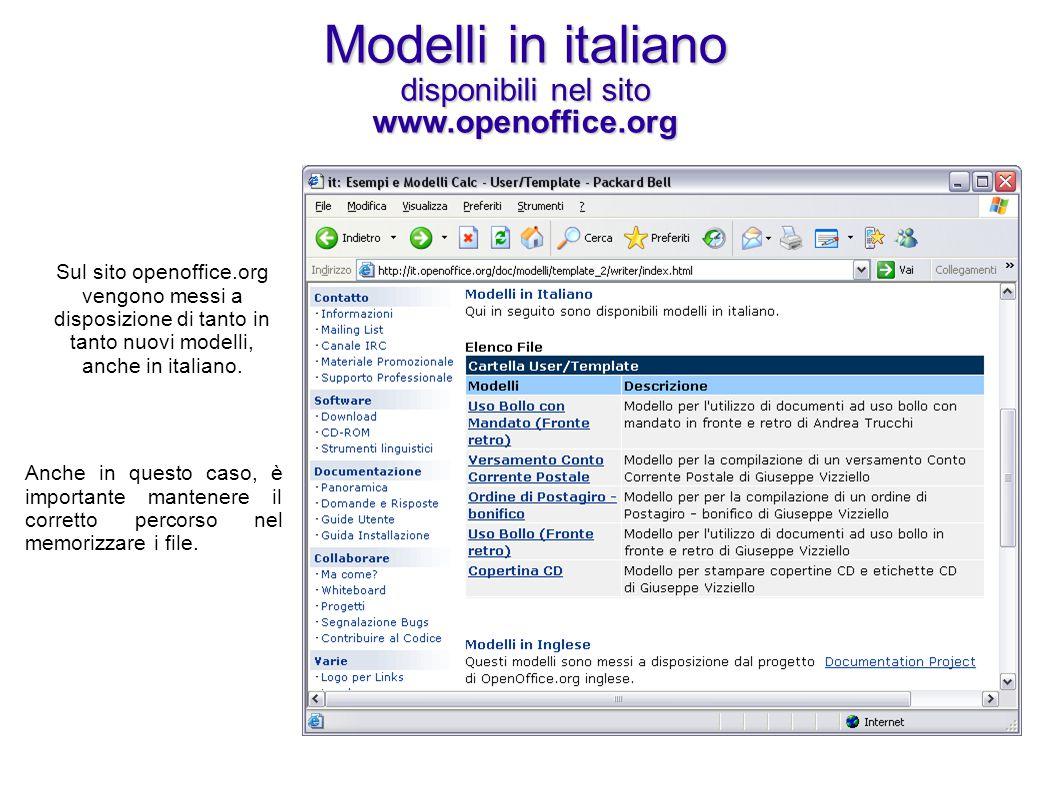 Modelli in italiano disponibili nel sito www.openoffice.org Sul sito openoffice.org vengono messi a disposizione di tanto in tanto nuovi modelli, anch