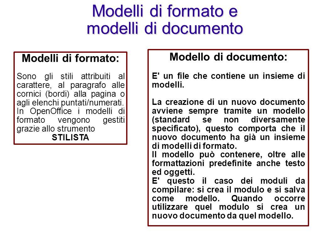 Modelli di formato e modelli di documento Modelli di formato: Sono gli stili attribuiti al carattere, al paragrafo alle cornici (bordi) alla pagina o agli elenchi puntati/numerati.