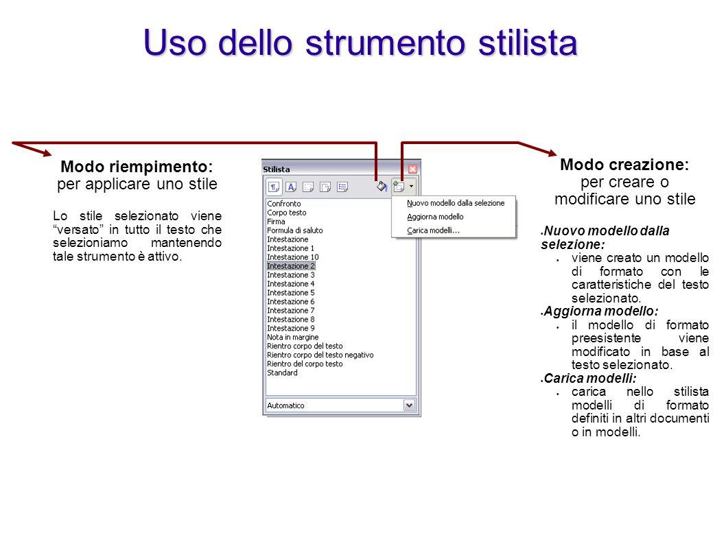 """Modo riempimento: per applicare uno stile Lo stile selezionato viene """"versato"""" in tutto il testo che selezioniamo mantenendo tale strumento è attivo."""