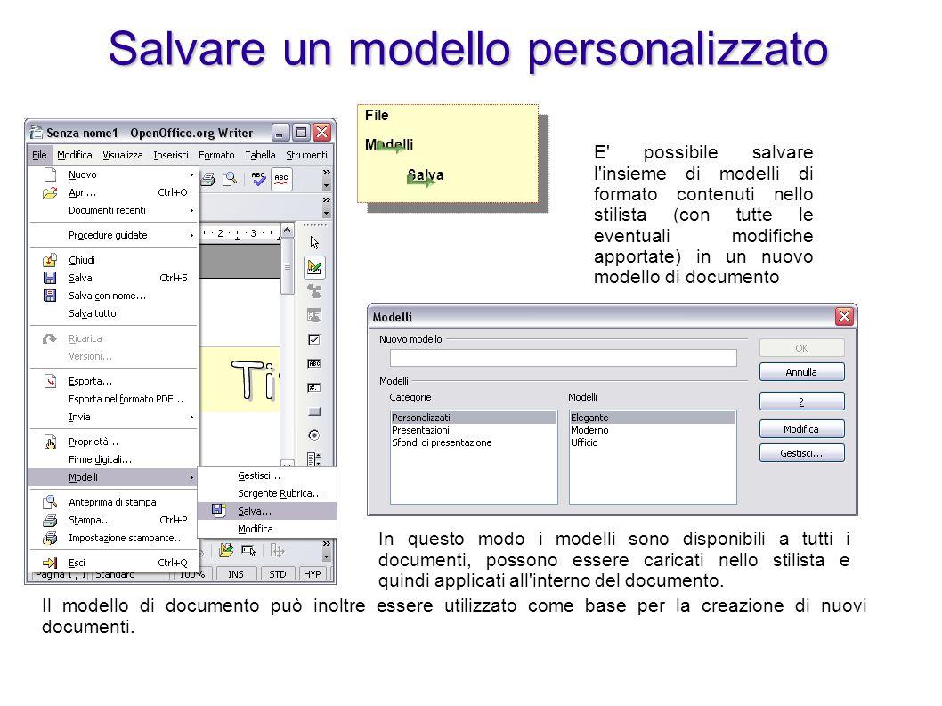 Salvare un modello personalizzato E' possibile salvare l'insieme di modelli di formato contenuti nello stilista (con tutte le eventuali modifiche appo