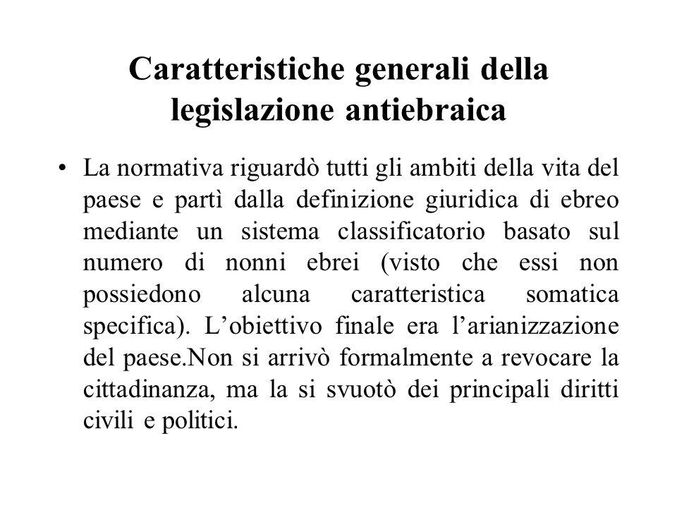 Caratteristiche generali della legislazione antiebraica La normativa riguardò tutti gli ambiti della vita del paese e partì dalla definizione giuridic