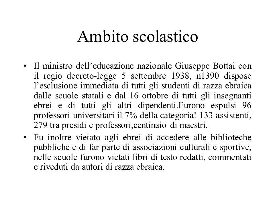 Ambito scolastico Il ministro dell'educazione nazionale Giuseppe Bottai con il regio decreto-legge 5 settembre 1938, n1390 dispose l'esclusione immedi