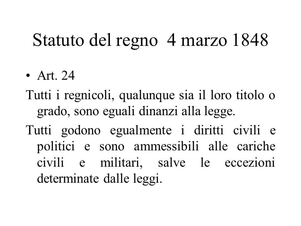 Statuto del regno 4 marzo 1848 Art. 24 Tutti i regnicoli, qualunque sia il loro titolo o grado, sono eguali dinanzi alla legge. Tutti godono egualment
