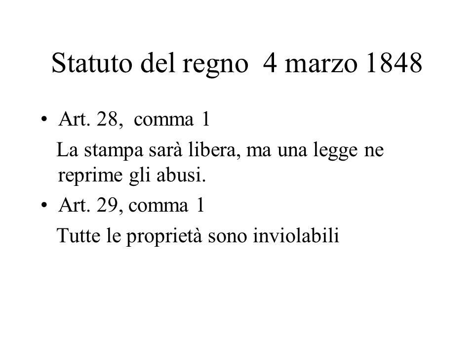 Statuto del regno 4 marzo 1848 Art. 28, comma 1 La stampa sarà libera, ma una legge ne reprime gli abusi. Art. 29, comma 1 Tutte le proprietà sono inv