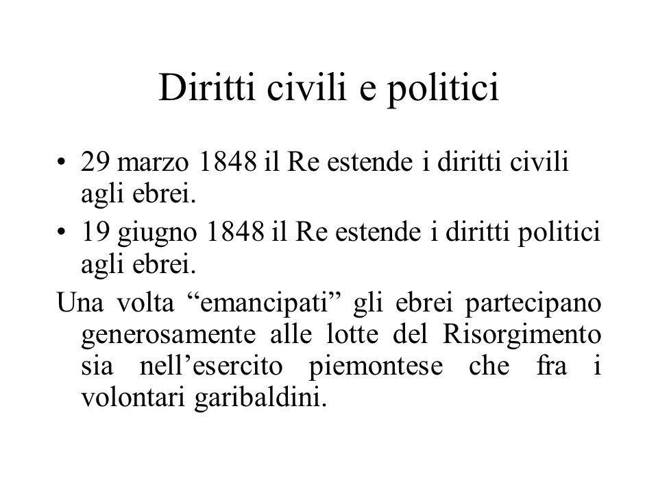 Diritti civili e politici 29 marzo 1848 il Re estende i diritti civili agli ebrei. 19 giugno 1848 il Re estende i diritti politici agli ebrei. Una vol