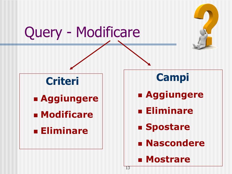 13 Query - Modificare Criteri Aggiungere Modificare Eliminare Campi Aggiungere Eliminare Spostare Nascondere Mostrare