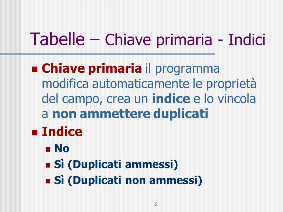 6 Tabelle – Chiave primaria - Indici Chiave primaria il programma modifica automaticamente le proprietà del campo, crea un indice e lo vincola a non a
