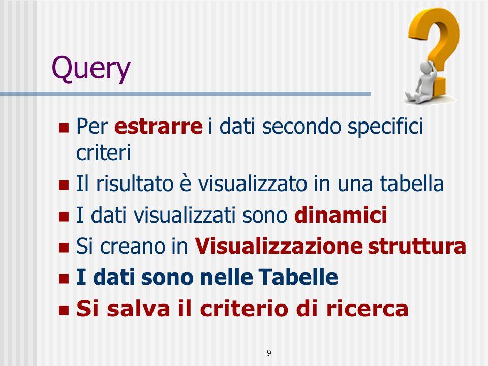 9 Query Per estrarre i dati secondo specifici criteri Il risultato è visualizzato in una tabella I dati visualizzati sono dinamici Si creano in Visualizzazione struttura I dati sono nelle Tabelle Si salva il criterio di ricerca