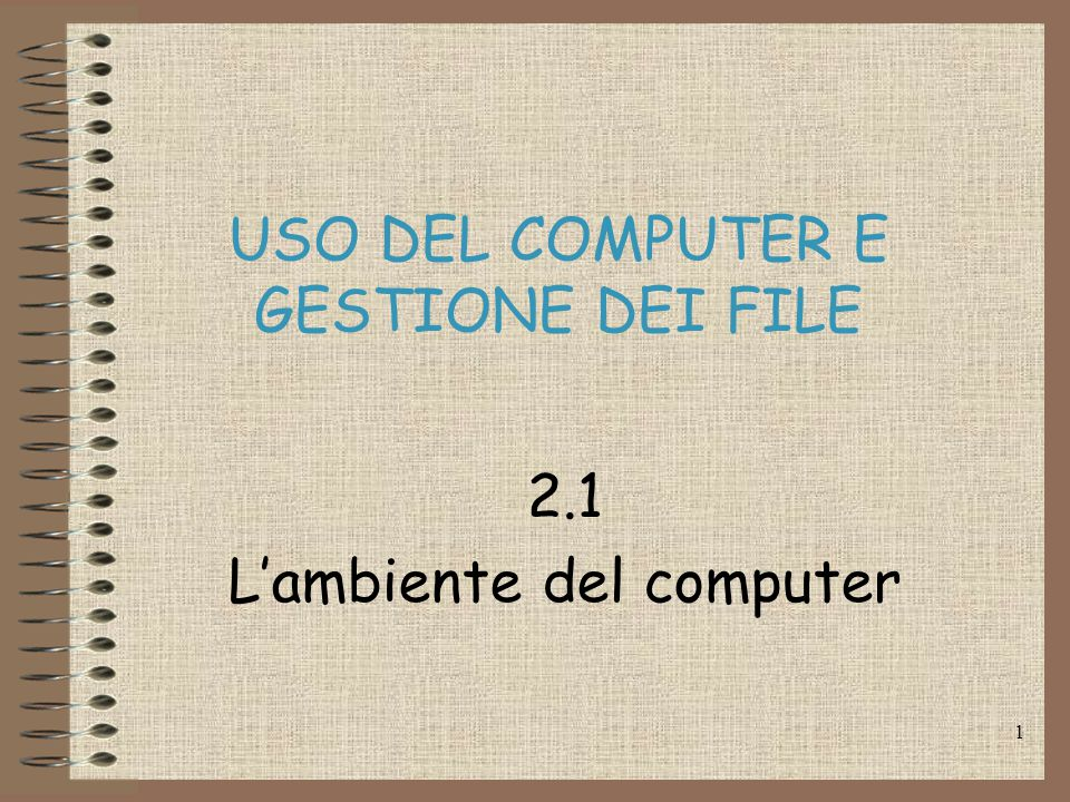 1 USO DEL COMPUTER E GESTIONE DEI FILE 2.1 L'ambiente del computer
