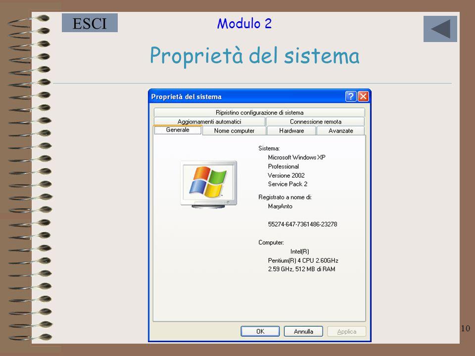 Modulo 2 ESCI 10 Proprietà del sistema