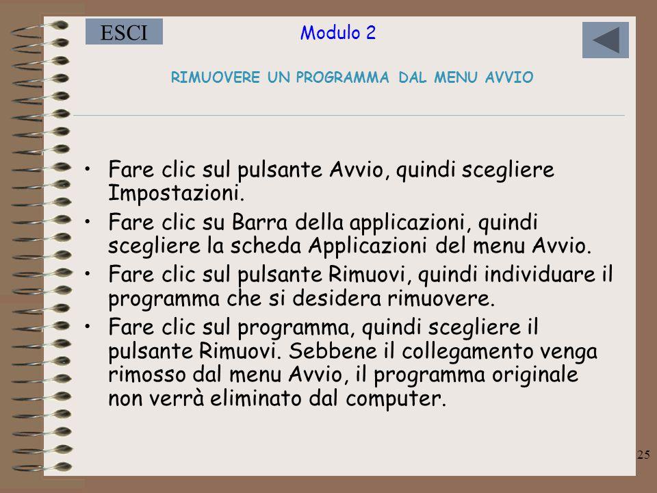 Modulo 2 ESCI 25 RIMUOVERE UN PROGRAMMA DAL MENU AVVIO Fare clic sul pulsante Avvio, quindi scegliere Impostazioni.
