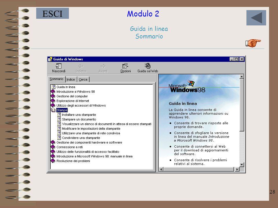 Modulo 2 ESCI 28 Guida in linea Sommario