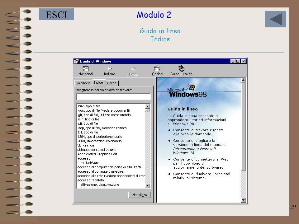 Modulo 2 ESCI 29 Guida in linea Indice